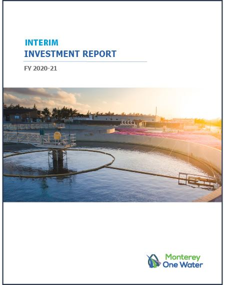 2020-2021 Investment Report Cover of secondary clarifier at sunset