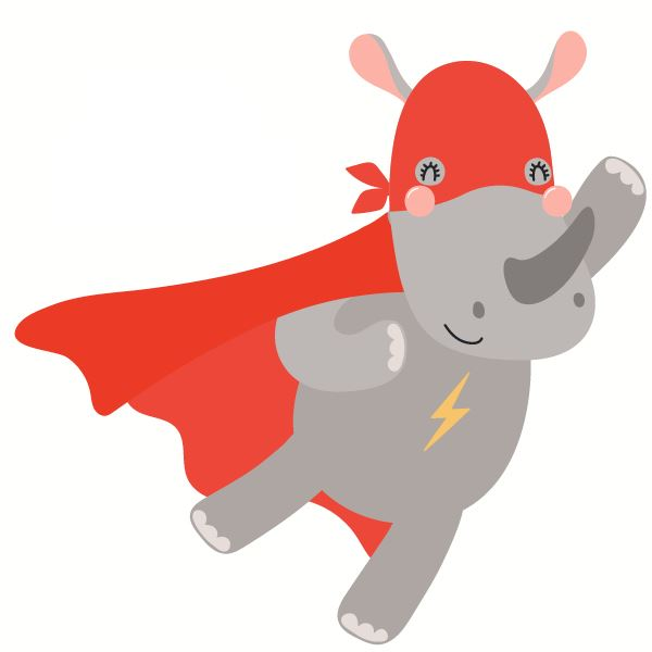Avatar of a cartoon rhino in superhero cape representing customer service representative Lindsay